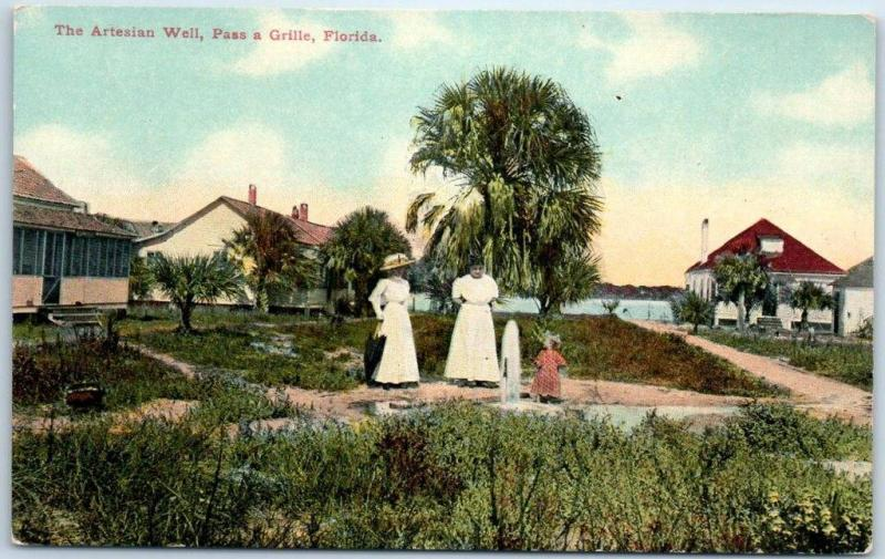 Pass-a-Grille, Florida Postcard Women & Child at Artesian Well c1910s Unused