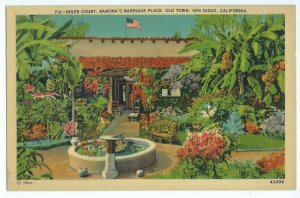 Ramona's Marriage Place Inner Court Herz Postcards Old Town San Diego CA VPC1.