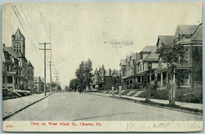 CHESTER PA WEST NINTH STREET 1910 ANTIQUE POSTCARD