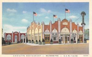 Brandywine Summit PA~Christy's Roadside Restaurant~Baltimore Pike~1935 Linen PC