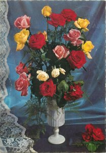 Postcard Greetings flowers vase bouquet red multi color yellow rose