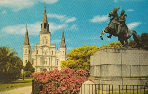 Louisiana New Orleans St Louis Cathedral and Jackson Monument