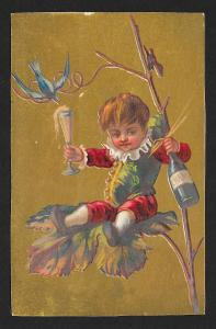 VICTORIAN TRADE CARD Stock Card Boy in Tree With Champagne