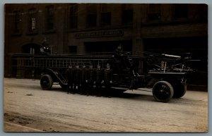 Postcard RPPC Springfield MA c1915 Pynchon St. Fire Station Auto Ladder Truck
