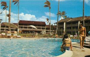 Kona Kauai Hawaii~Islander Inns~Bathing Beauties Poolside~1960s Postcard