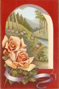 Beautiful roses in  beautiful landscape Nice Spanish postcard 1960s. Signed