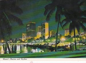 Florida Miami Skyline From Dodge Island Causeway At Night