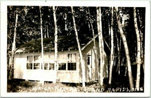 GRAND RAPIDS, Minnesota RPPC Real Photo Postcard WA-CA-THA-KA Cabin View 1945