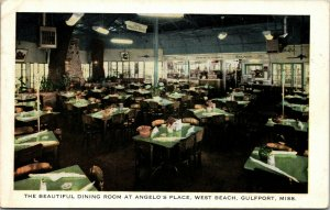 US DINING ROOM ANGELOS PLACE GULFPORT MISSISSIPPI POSTED POSTCARD