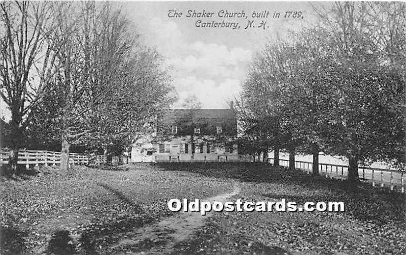 Old Vintage Shaker Post Card The  Church Built in 1789 Canterbury, New Hampsh...