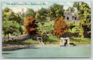 Kansas City MO~Webb Country Home~Landscape along Water~Early Autumn Trees~1911