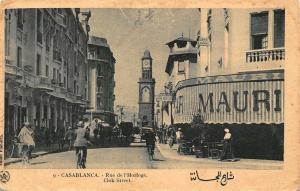 Morocco Casablanca Rue de l'Horloge Clok Street Clock Tower Postcard