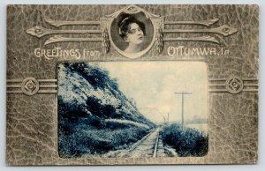 Ottumwa Iowa~Train Tracks at Garrison Rocks~East of Town~Lovely Lady Border~1908