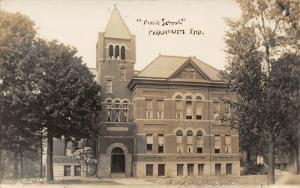Fairmount Indiana~Public School House~Ruffled Curtains~Open Windows~1909 RPPC