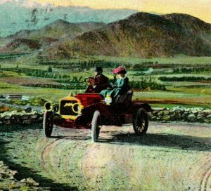 Vtg Postcard Riverside California CA Huntington Drive Rubidoux Mountain