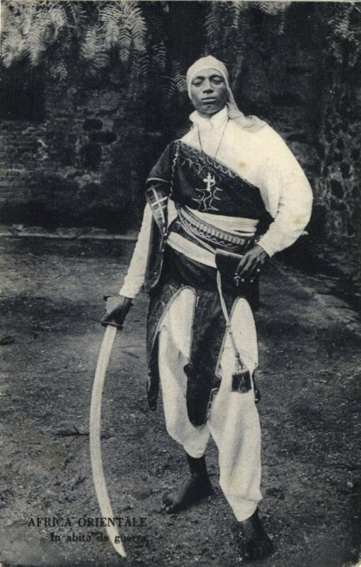 east africa, Christian Warrior with Large Sword (1910s) Postcards