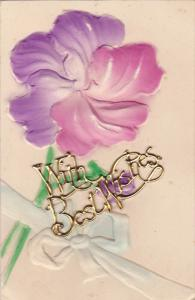 1900-1910's; Embossed Flower, Metalic With Best Wishes Sign