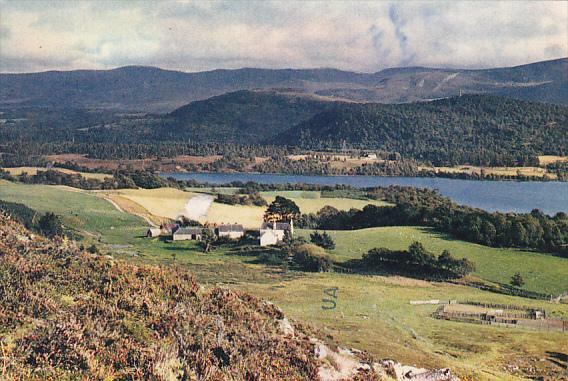 Scotland Inverness-shire Looking Across Loch Alvie To Cairngorm Mountains