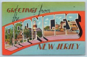 Postcard NJ Oranges Large Letter Greetings From Oranges New Jersey Linen N6