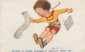 Bills List Child Being Adult Monday Debts Comic WW2 Postcard