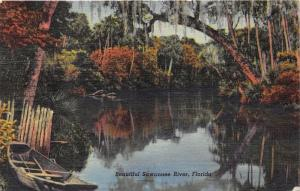 Florida-Suwannee River Scene~Boat by Tree~Song Lyrics on Bk~Mailed @ Clearwater