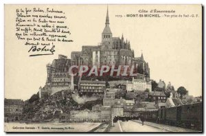 Old Postcard Cote D & # 39Emeraude Mont St Michel View South Taking Train Botrel