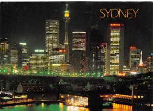 Australia Sydney skyline at night with Pier One and the historic rocks