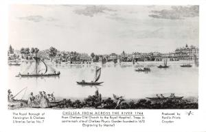 London Postcard Art, Chelsea from across the River Thames (1744) by Manter T67