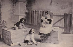 TUCK # 6535, Little girls with puppies, Someone's Coming, 1906