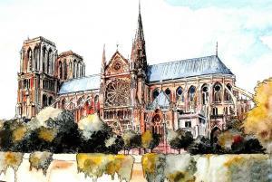 New Art Postcard, NOTRE DAME Cathedral Church, Paris, France 99O