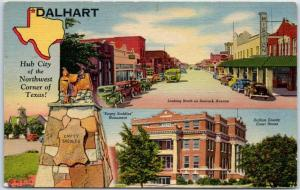 Dalhart, Texas Postcard Hub City of the NW Corner of Texas Denrock Ave. Linen