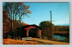 North Bennington VT-Vermont, Scenic Old Covered Wood Bridge, Chrome Postcard