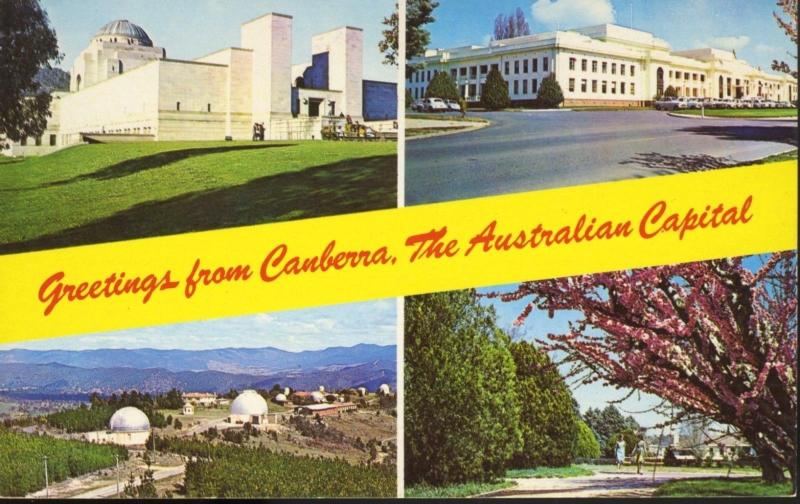 Greetings from Canberra Australian Capital AU Australia Multiview Postcard D3