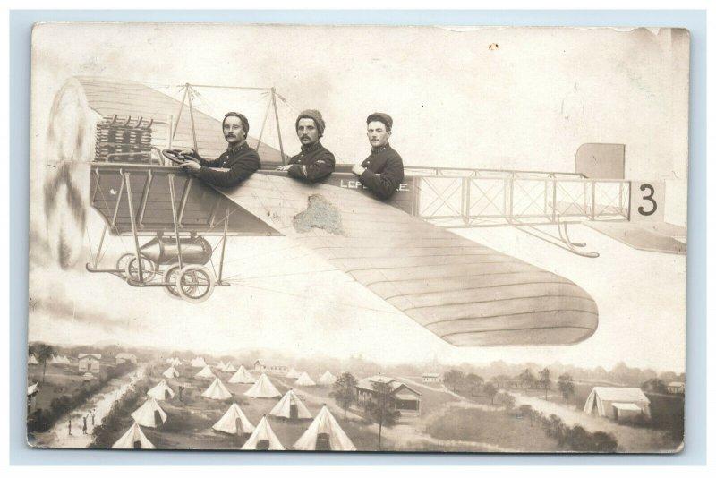 RPPC French Pilot Pioneer Eugene Lefebvre Fantasy Double Image Postcard Plane