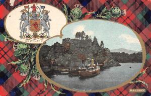 Scotland UK~Loch Katrine~Steamer at Trossach's Pier~MacDuff Coat Arms~Plaid~1908