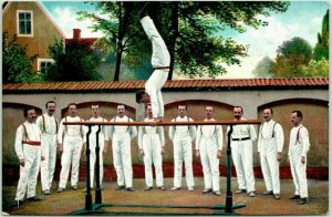 1916 TURNERS Acrobats Postcard Gymnastics Parallel Bars Message in French