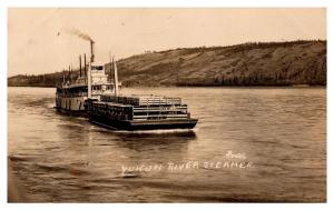 Yukon River Steamer, The DAYSON , with Barge ,  RPC