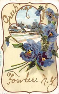 Fowler New York Pansie Flower Snow Scene Greeting Antique Postcard K670987