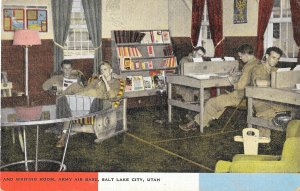 1940s US Linen, Natural Color Postcard, Writing Room, US Army Air Base, Utah