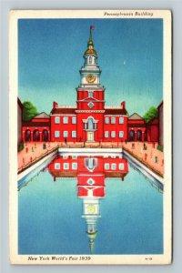 1939 New York World's Fair - Pennsylvania Building, Court of States Postcard