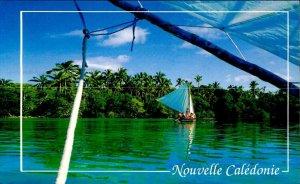 CE0845 new caledonia pins island native canoe wind boat pacific ocean