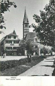 Romania Medias sfatul popular raional biserica ceas turn strada  Postcard
