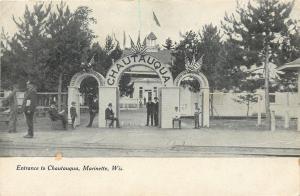 Marinette Wisconsin~Men & Boys at Gate~Entrance to Chautauqua~1906 Postcard