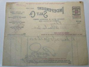 1923 Independent SALT COMPANY Red Cross Table Salt NEW YORK Bill Letterhead
