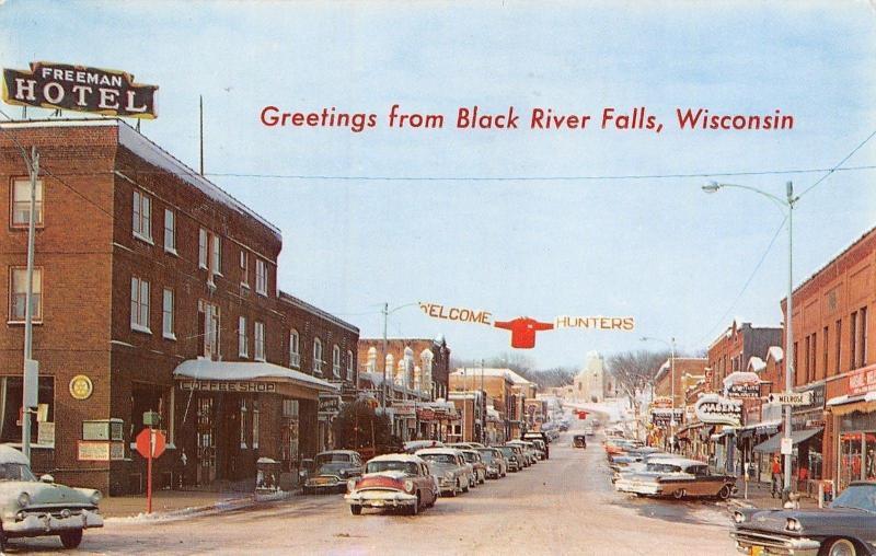 34f75c55d9bbc Black River Falls WI Freeman Hotel~Welcome Hunters Banner~St Joseph s 1950s  PC
