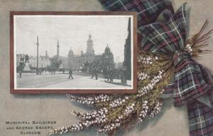 GLASGOW, Scotland, 00-10s; Municipal Bldgs & George Square,TUCK 7824, Tartan Bow