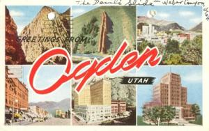 Greetings from Ogden, Utah 1945 used Postcard