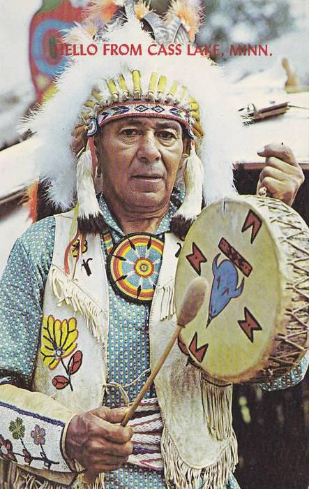 GE-SWAY-QU-NIB, Chippewa Indian drummer at Fort Mille Lacs Indian village on ...