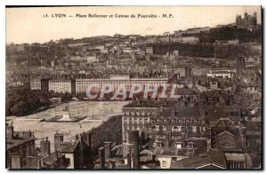 Old Postcard, place Bellecour Lyon and Fourviere hill
