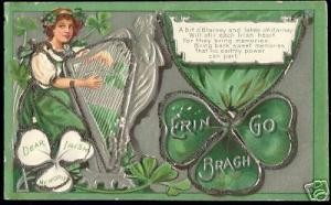 ireland, Erin go Bragh, Harp, Shamrock (1905) Embossed